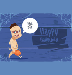 cute kid wear mummy costume happy halloween vector image