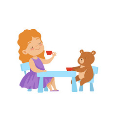 cute little girl playing with her teddy bear at vector image