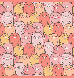 Cute pig pattern background vector
