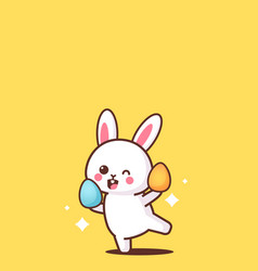 cute rabbit holding eggs happy easter bunny vector image