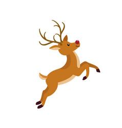 cute xmas deer icon flat style vector image