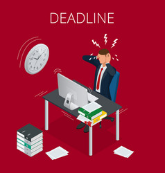 Deadline concept of overworked man time to work vector