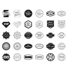 different label blackoutline icons in set vector image