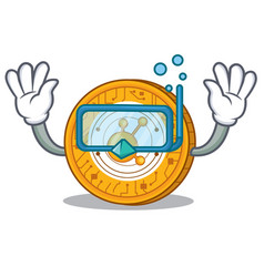 Diving bitconnect coin character cartoon vector