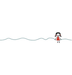 doodle line with girl seamless border vector image