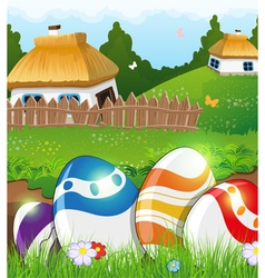 Easter eggs in the grass and rural houses vector