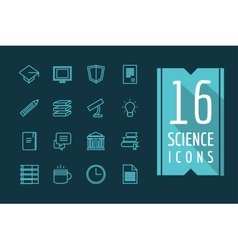 Education icons set Science students or vector image