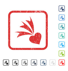 Falling heart icon rubber watermark vector