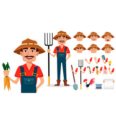 Farmer cartoon character creation set vector