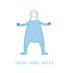 figure cartoon man with water inside the concept vector image