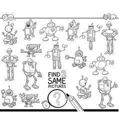 Find two same robots coloring book vector