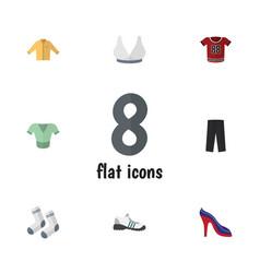 Flat garment set pants banyan heeled shoe and vector