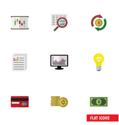Flat icon finance set of chart payment document vector