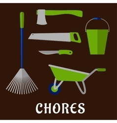 Gardening chores and tools flat icons vector