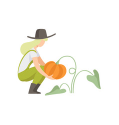 Girl picking pumpkin farmer harvesting woman vector