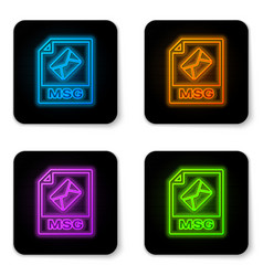 glowing neon msg file document icon download msg vector image