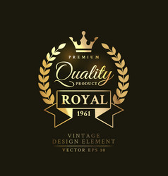 gold vintage retro badge on the black vector image