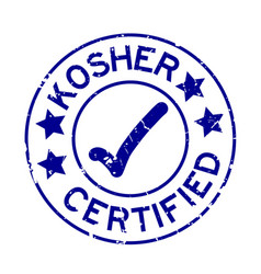 Grunge blue kosher certified word with mark icon vector