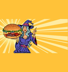halloween witch presents holiday burger vector image