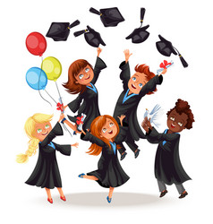 Happy boys and girls on graduation party vector