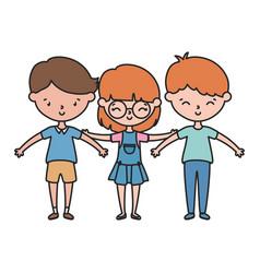 happy little boy and girls cartoon hands up vector image