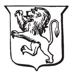 Heraldry rampant have shield with a rearing lion vector