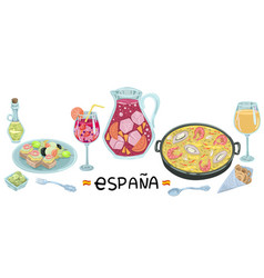 Jug and wine glass with sangria paella and dinner vector