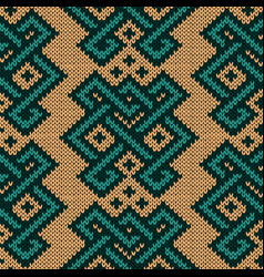 Knitted seamless ornamental pattern vector