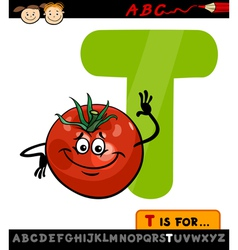 Letter t with tomato cartoon vector