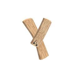 Letter y wood board font plank and nails alphabet vector