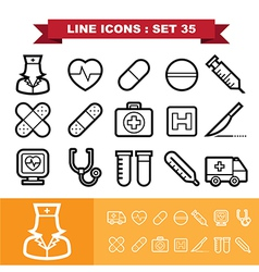 Line icons set 35 vector image
