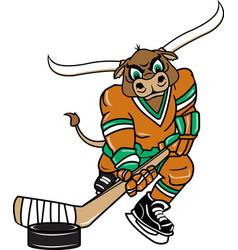 Longhorn sports logo mascot hockey vector