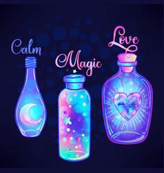Magic potion blue bottle jar set with pink moon vector