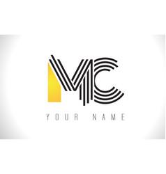 Mc black lines letter logo creative line letters vector