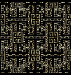 Meander greek key seamless pattern black and gold vector
