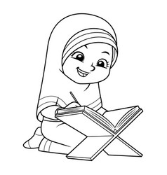 moslem girl reading quran bw vector image