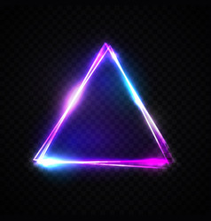 Neon abstract triangle on transparent background vector