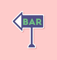 Paper sticker on stylish background bar sign vector