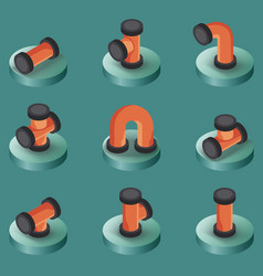 Pipes color isometric icons vector