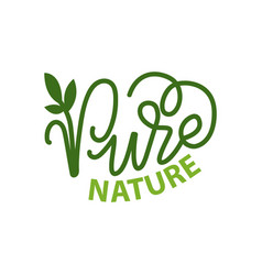 Pure nature lettering and green calligraphy logo vector