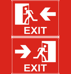 red exit sign emergency fire exit door and exit vector image