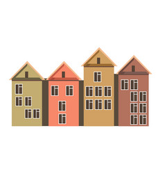 Row town houses with attics and colorful walls vector
