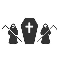 scytheman coffin guard flat icon vector image