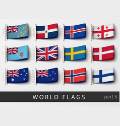 Set flag labels all countries vector