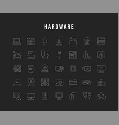 Set line icons hardware vector