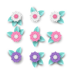 set of 3d paper cut flowers with leaves vector image