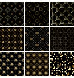 set of black geometric seamless textures vector image