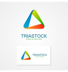 Set unusual triangle logo vector