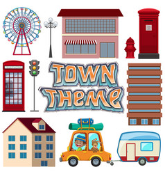 Set urban town element vector