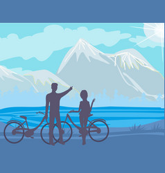 Sillhouette of couple standing in the park vector
